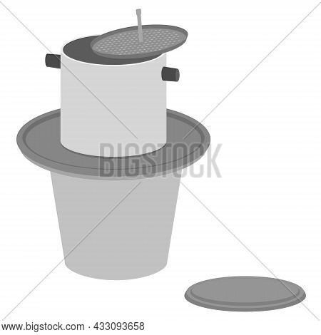 Vietnamese Traditional Coffee Dripper Isolated On White. Coffee Maker. Dripping Hot Coffee Brewing S
