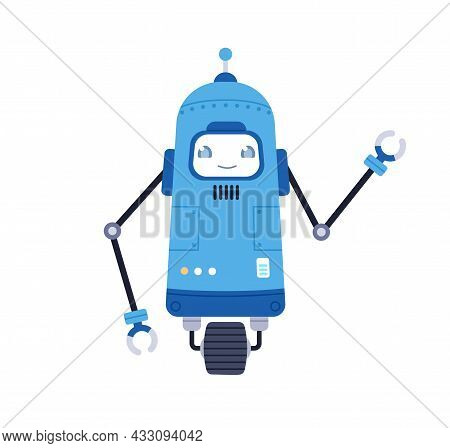 Cute Single-wheeled Robot Toy. Funny Kids Bot With Happy Smiling Face And Ai. Adorable Cyborg. Moder