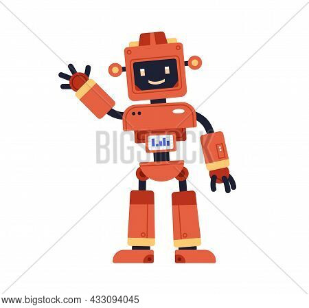 Cute Robot Toy In Retro Style. Funny Kids Bot With Happy Smiling Face And Screen. Adorable Cyborg Ge