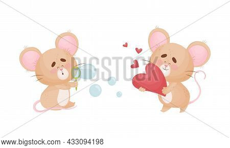 Cute Mouse Character As Small Rodent Blowing Bubbles And Holding Red Heart Vector Set