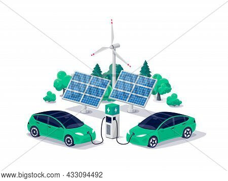 Isometric Electric Cars Charging Parking At The Charger Station With A Plug In Cable. Isolated Flat