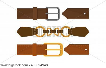 Buckle Or Clasp As Adjustable Device For Fastening On Garment Or Accessory Vector Set