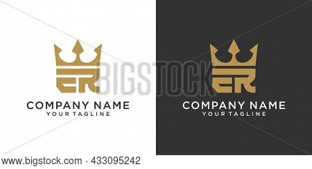 Initial Letter Er Or Re Logo Design With Crown Icon Vector On Black And White Background.