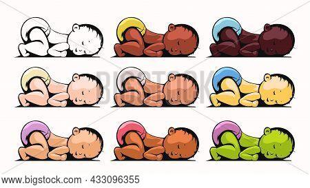 Multiracial Group Of Sleeping Kids On White