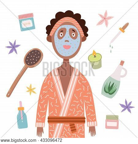 Funny Girl In A Bathrobe With A Cosmetic Mask On Her Face. Cartoon Character With Cosmetic Items On
