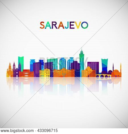 Sarajevo Skyline Silhouette In Colorful Geometric Style. Symbol For Your Design. Vector Illustration