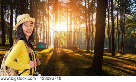 Tourist Girl Backpack For Campfire In The Forest Winter Time.  Happy Traveler Lifestyle People On Va