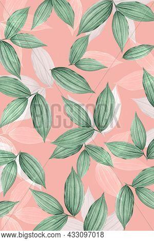 Vintage pink tropical leafy background