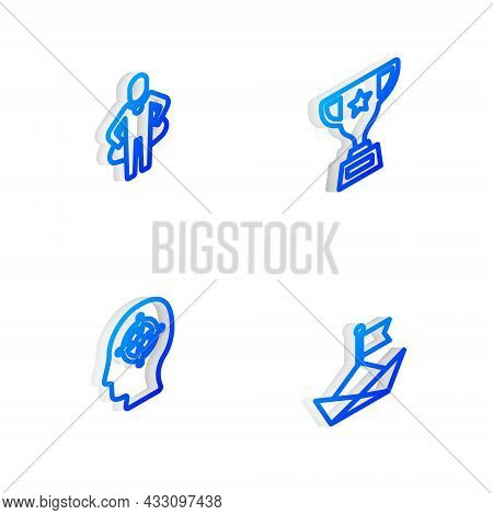 Set Isometric Line Award Cup, Head Hunting, And Folded Paper Boat Icon. Vector