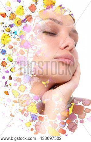 Paintography. Bright colorful double exposure portrait of a young woman with her eyes closed