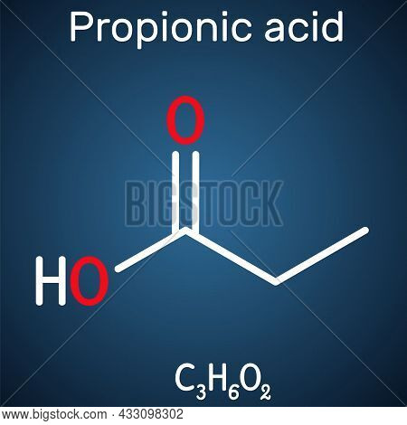 Propanoic Acid, Propionic Acid Molecule. It Is Short-chain Saturated Fatty Acid, Antifungal Drug, An