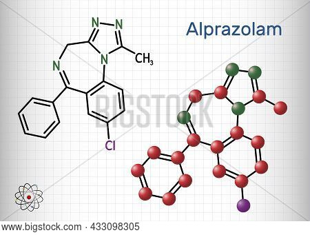 Alprazolam, Molecule. It Is Benzodiazepine, Short-acting Tranquilizer With Anxiolytic, Sedative-hypn