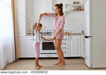 Cute Charming Little Girl Dancing With Mother, R Feeling Amazing Dancing With Her Loving Mommy, Expr