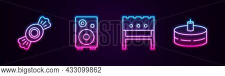 Set Line Candy, Stereo Speaker, Bbq Brazier And Cake With Burning Candles. Glowing Neon Icon. Vector