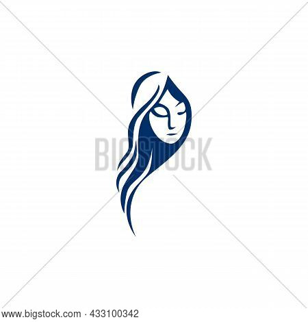 Beautiful Woman Feminine Face Logo Icon Flat Concept Vector Graphic Design