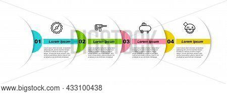 Set Line Circular Saw Blade, Electric Drill Machine, Air Compressor And Circular. Business Infograph