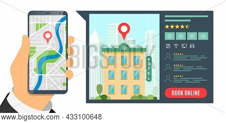 Find Hotel And Booking Online Service For Vacation Tourism App Concept. Travel Apartment Mobile Sear
