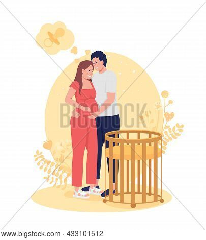 Couple Expects Baby 2d Vector Isolated Illustration. Future Parents Near Cradle. Expecting Baby. Hap
