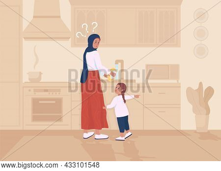 Daugther Distracts Mother Flat Color Vector Illustration. Parent Busy Washing Dishes. Toddler Demand