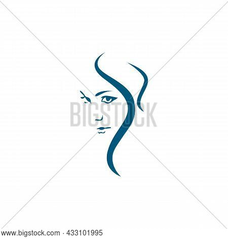 Woman Beautiful Face Feminine Logo Icon Flat Concept Vector Graphic Design