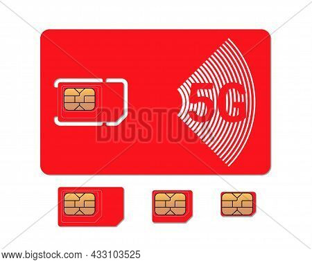 Mobile Phone Red Sim Card With Standard, Micro And Nano Emv Chip Design Template. 5g Gsm Plastic Sym