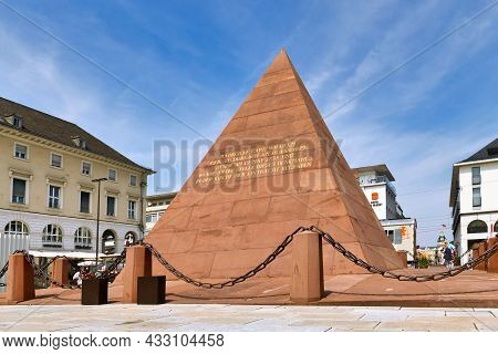Karlsruhe, Germany - August 2021: Pyramid At Market Square Built Over Vault Of The City's Founder Ka