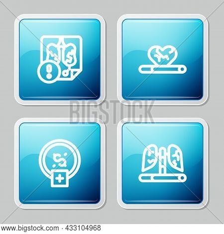 Set Line Disease Lungs, Heart Disease With Smoking, Stop Smoking, Money Saving And Icon. Vector