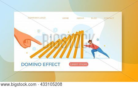 Domino Effect Of Businessman Pushing Hard Against Falling Domino