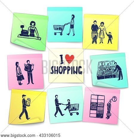 Sticker Note Style Supermarket Cards With Cashier Shopping Cart Counter Delivery Man Grocery And Hap