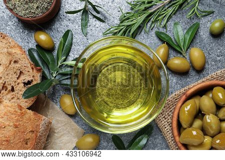 Flat Lay Composition With Olive Oil On Grey Table, Flat Lay
