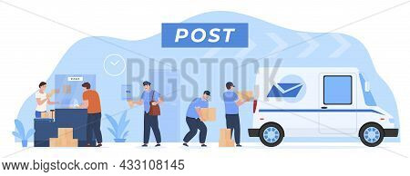 Post Delivery Process Customer Service Vector Flat Employee Of Postal Office Working As Team