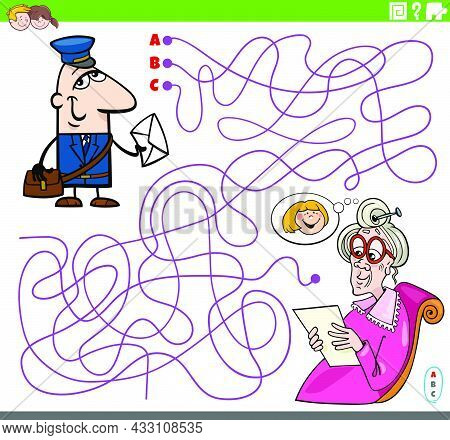 Cartoon Illustration Of Lines Maze Puzzle Game With Postman Character And Senior Woman