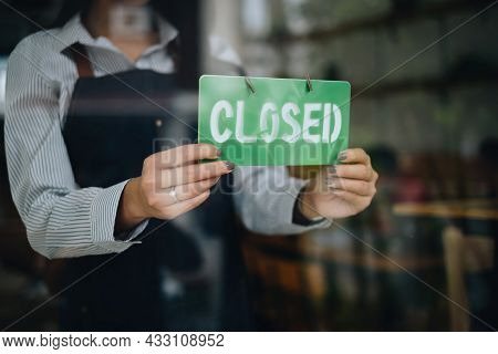 Store Owner Turning Closed. Stressed Owner Forced To Close The Coffee Shop Permanently Due To Restri