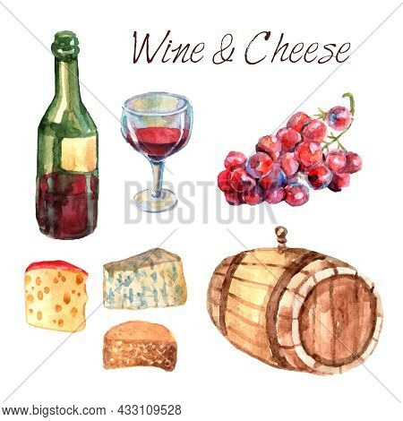 Winery Farm Production Watercolor Pictograms Collection For Restaurant Wine Consumption With Cheese