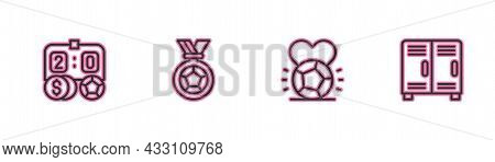 Set Line Football Betting Money, Soccer Football, Or Soccer Medal And Locker Changing Room Icon. Vec