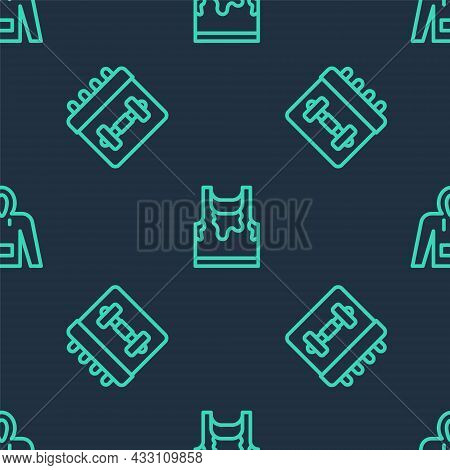 Set Line Sweaty Sleeveless T-shirt, Calendar Fitness And Hoodie On Seamless Pattern. Vector