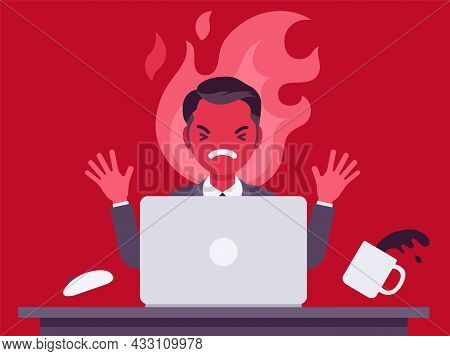 Businessman Working With Laptop Flamed In Anger. Burnout, Office Worker Losing Temper In Annoyance,