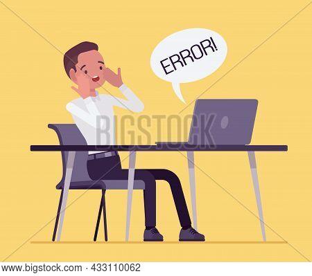 Office Male Clerk Afraid Of Computer Failure, Hardware, Software Error. Businessman In Frustration,