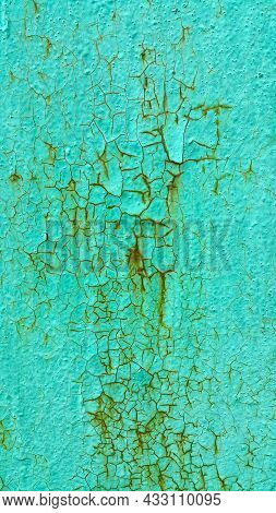 Texture Of Green Painted Metallic Wall Cracked And Rusty From Time, Vintage Weathered Background