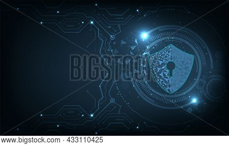Concept Of Cyber Attack Design.cyber Security Destroyed.shield Destroyed On Electric Circuits  Netwo