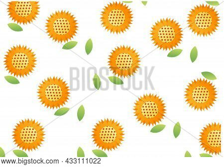 Sunflower Background With Natural Theme, On White Background