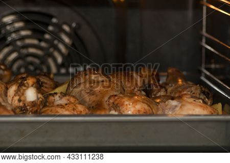 Chicken Meat With Potatoes In The Oven. Cooking Chicken Meat With Potatoes In The Oven