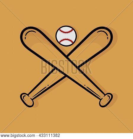 Hand Drawn Illustration Of Baseball Bat And Baseball With A Sports Theme