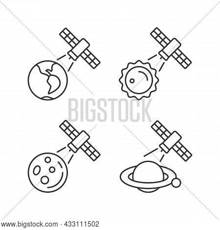 Celestial Bodies Observation Linear Icons Set. Heliophysics Science Investigations. Planet Explorati