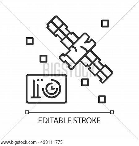Satellite Condition Linear Icon. Artifial Satelite Breakdown. Satellite Status Information. Thin Lin