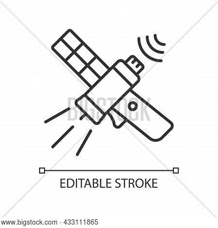 Communications Satellite Linear Icon. Telecommunications Network. Transmiting Signal Satelite. Thin