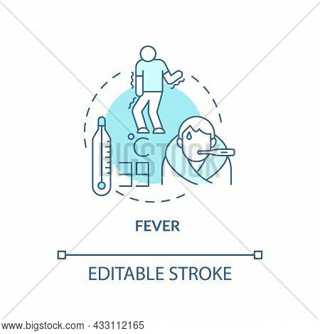 Fever Blue Concept Icon. High Temperature And Sweating Lead To Water Loss. Flu Chills. Dehydration A