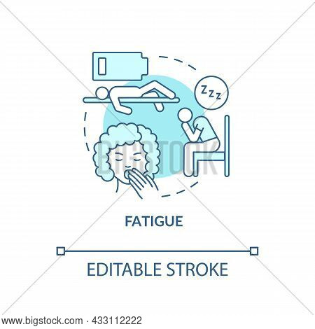 Fatigue Blue Concept Icon. Fluid, Electrolytes Loss Can Cause Fatigue. Low Energy, Weakness. Dehydra