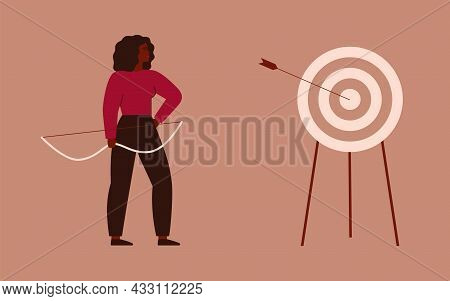 Businesswoman Shooting A Bow And Hit A Target. Archery To The Bull's-eye Of The Dartboard. A Strong