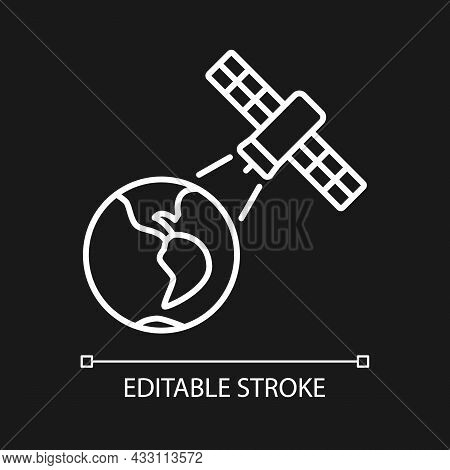Earth Observation Process White Linear Icon For Dark Theme. Terrestial Surface Investigation. Thin L